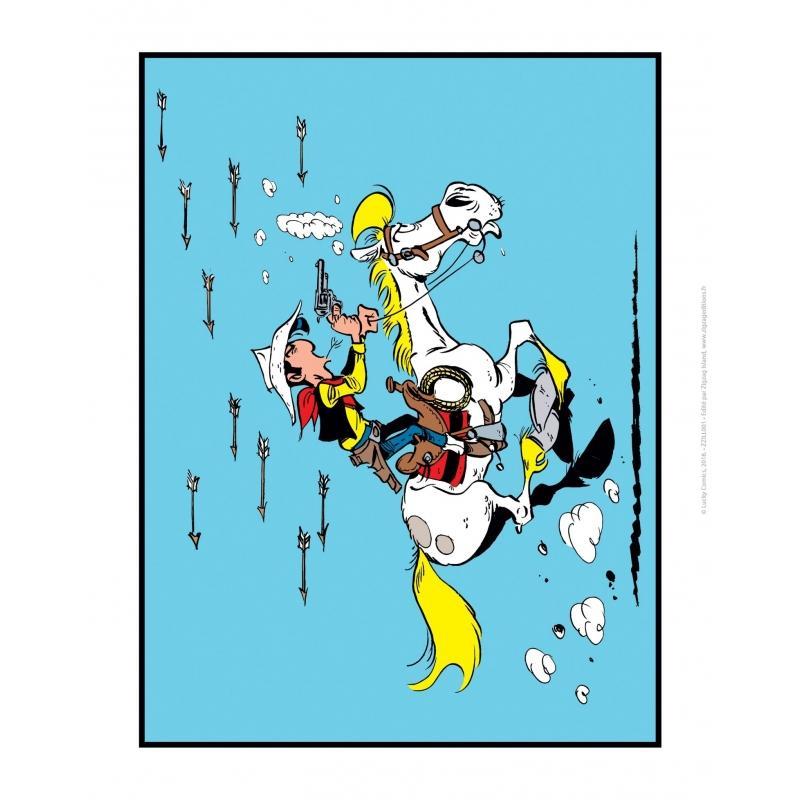 LUCKY LUKE - Affiche 35.5X28 - Attaque Indienne