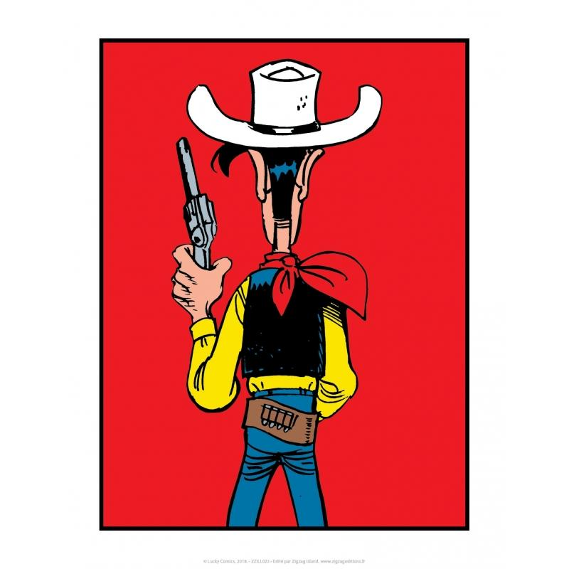 LUCKY LUKE - Affiche 35.5X28 - Lucky Luke Dos Rouge