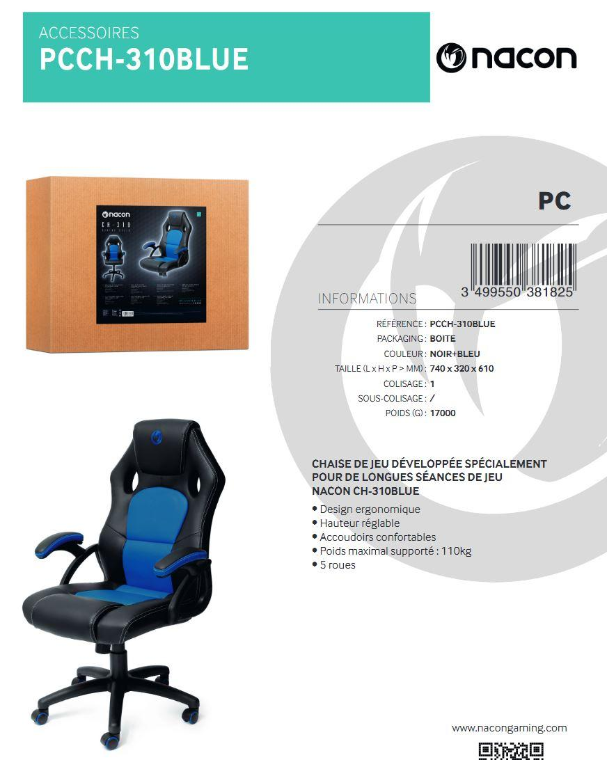 NACON CH-310 Chaise Gaming Blue Black_3