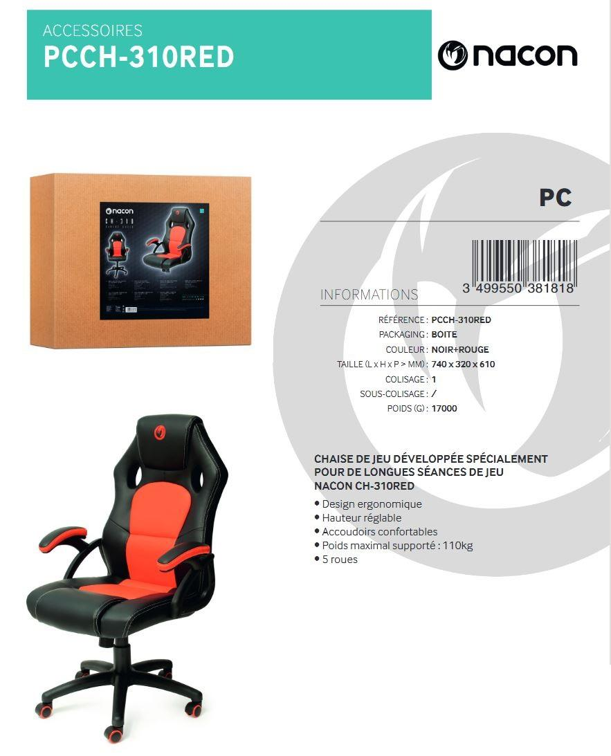 NACON CH-310 Chaise Gaming Red Black_3