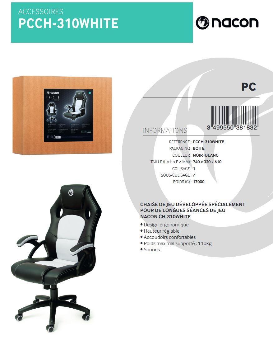 NACON CH-310 Chaise Gaming White Black_3