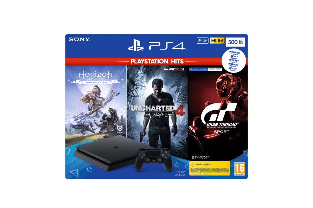 Console PS4 SLIM - 500 GB Black Hits Pack GT/HZD/UC4