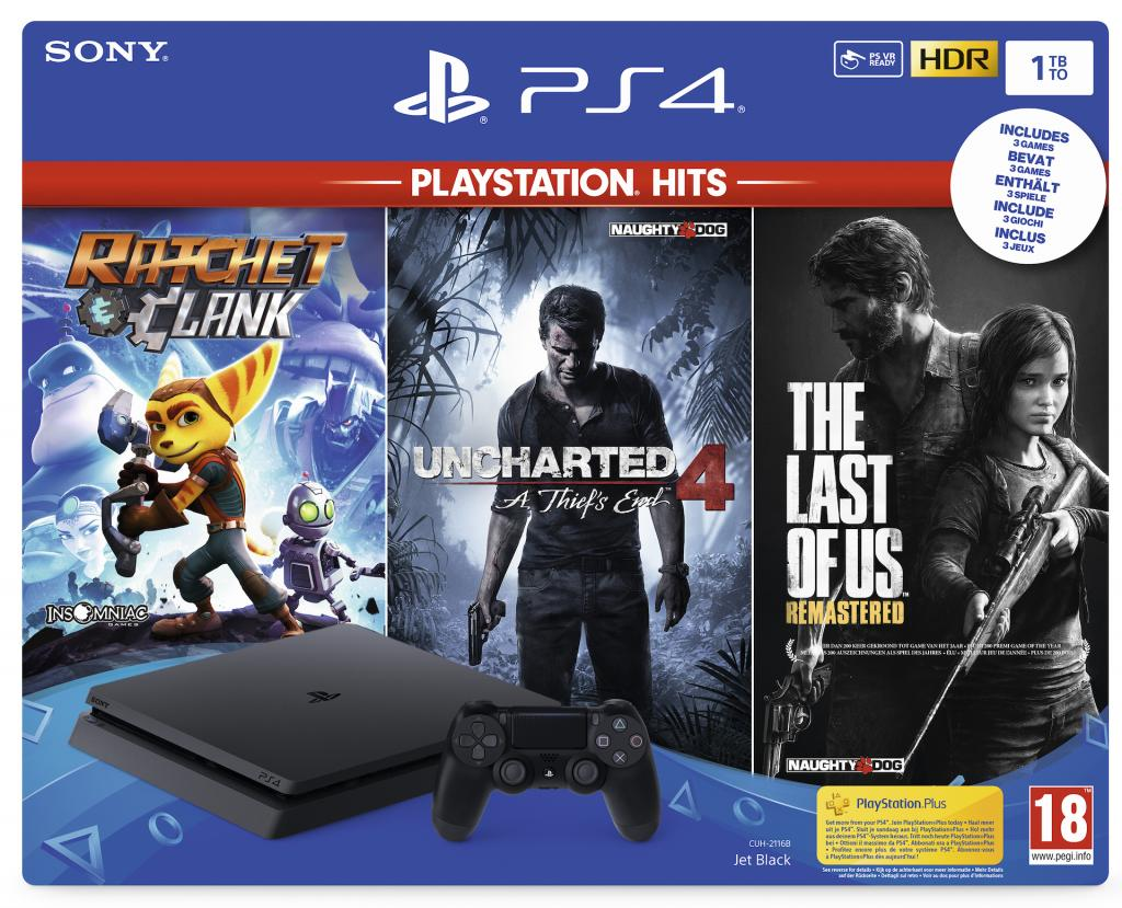 Console PS4 Slim - 1To Black - Ratchet/Last of US/Uncharted4 - HITS