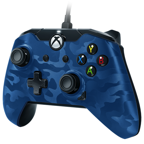 PDP - Wired Controller Official Xbox One Camo Blue
