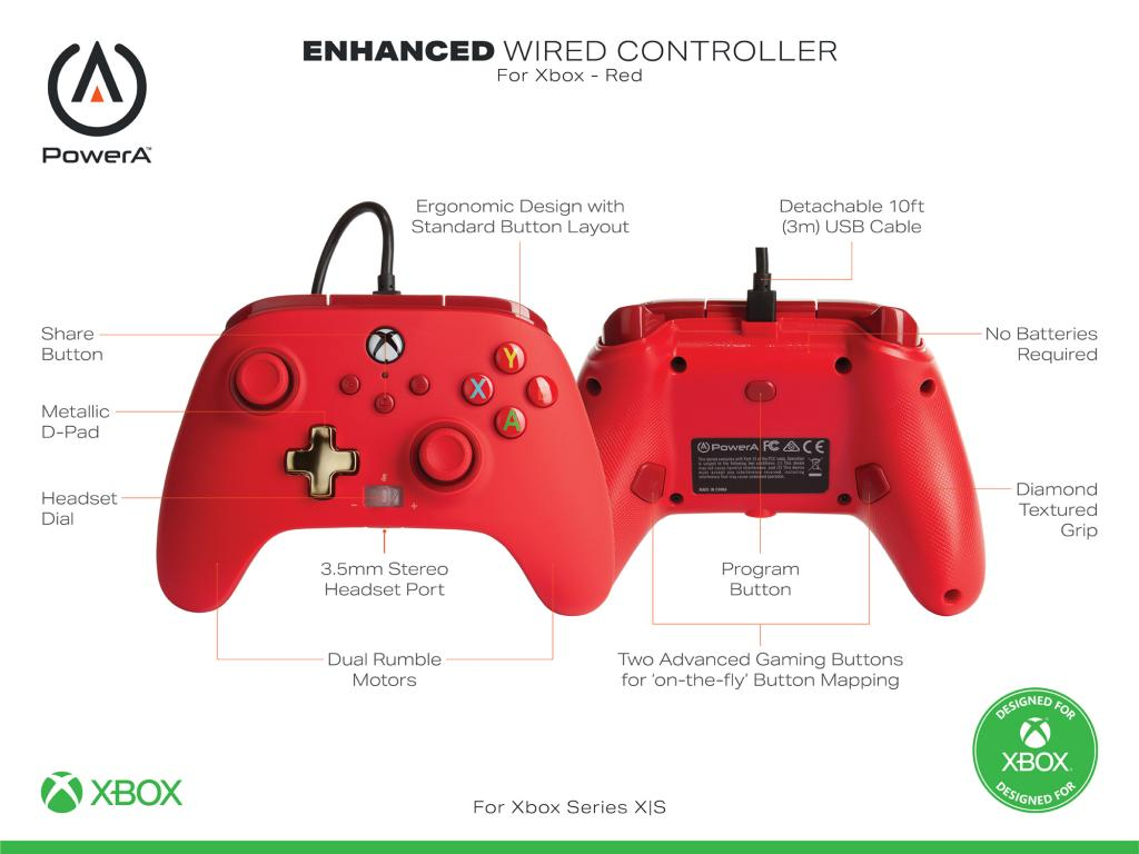POWER A - Wired Controller Enhanced - Red Xbox Series X_2
